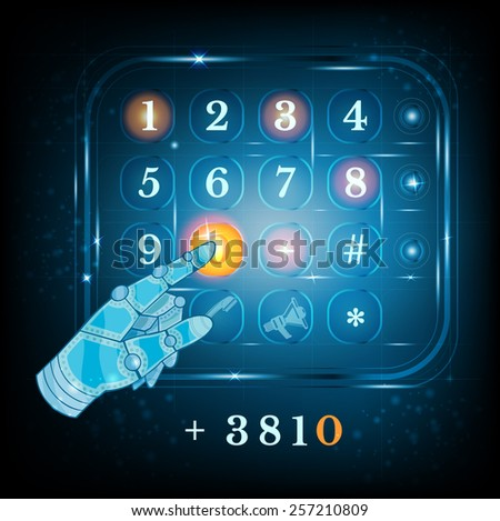 virtual phone keyboard or keypad and hand pointer.dialing - stock vector