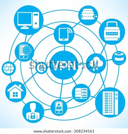Virtual Private Network concept info graphic network with blue theme - stock vector