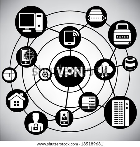 virtual private network, vpn network, info graphic - stock vector