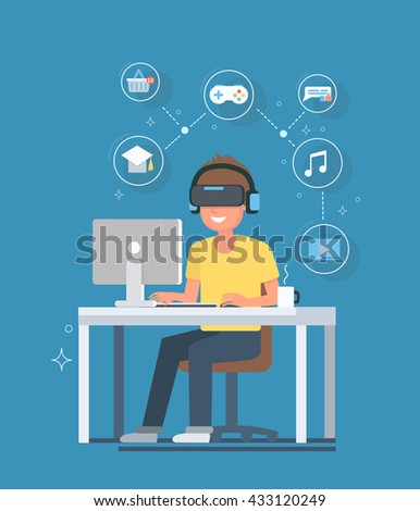 Virtual reality concept illustrated future of VR. Man with virtual reality glasses and headset sitting at a computer desk. Vector illustration. - stock vector
