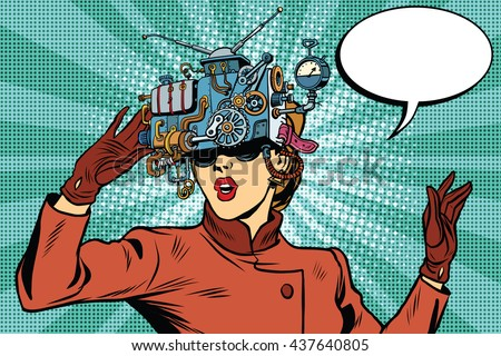 Virtual reality glasses retro girl science fiction - stock vector