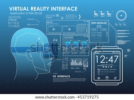 virtual reality glasses with smart of watches. Virtual space with various graphs and elements in the HUD style. link watches dopolnitelnoya reality glasses VR
