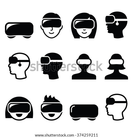 Virtual reality headset for 3D gaming, viewing icons  - stock vector