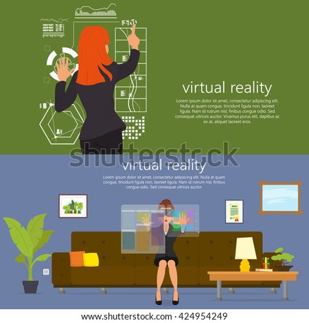 Virtual reality. New technologies. Mobile and computer systems. Devices. Vector flat illustration. Virtual, Virtual, Virtual, Virtual, Virtual, Virtual. - stock vector