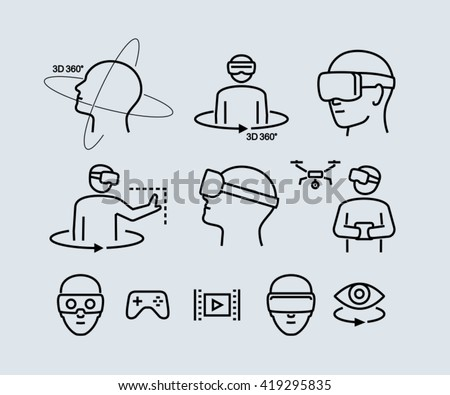 Virtual Reality Vector Icons