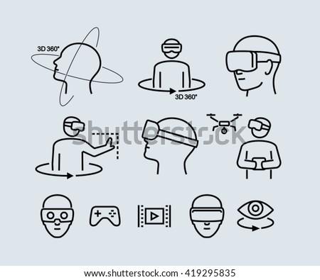 Virtual Reality Vector Icons  - stock vector