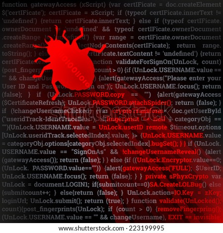 Virus Bug. Hacking concept. Red bug crawling on top of code. Fully scalable vector illustration. - stock vector