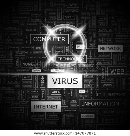 VIRUS. Concept vector illustration. Word cloud with related tags and terms. Graphic tag collection. Wordcloud collage.  - stock vector