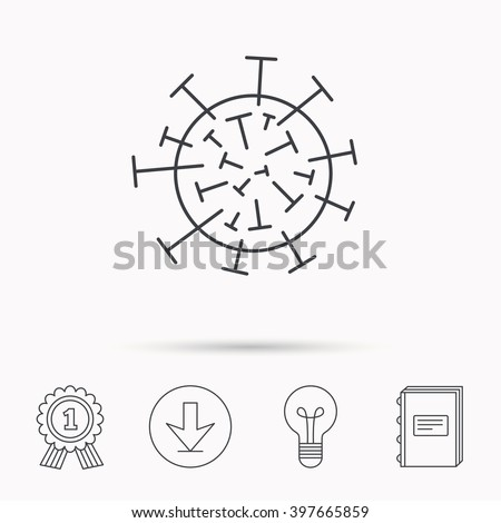 Virus icon. Molecular cell sign. Biology organism symbol. Download arrow, lamp, learn book and award medal icons. - stock vector