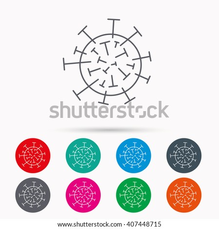 Virus icon. Molecular cell sign. Biology organism symbol. Linear icons in circles on white background. - stock vector