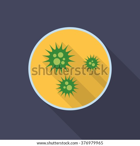Virus icon with long shadow. Flat design style. Petri dish silhouette. Simple icon. Modern flat icon in stylish colors. Web site page and mobile app design element. - stock vector
