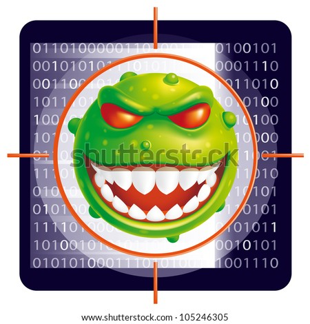 Virus scan (EPS 10,includes transparency and mesh) - stock vector