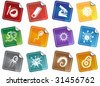 Virus Sticker Set : Group of microscopic virus creatures in a simplified style. - stock photo
