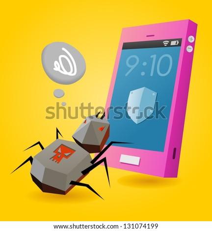 Virus threat on smartphone. Vector illustration - stock vector
