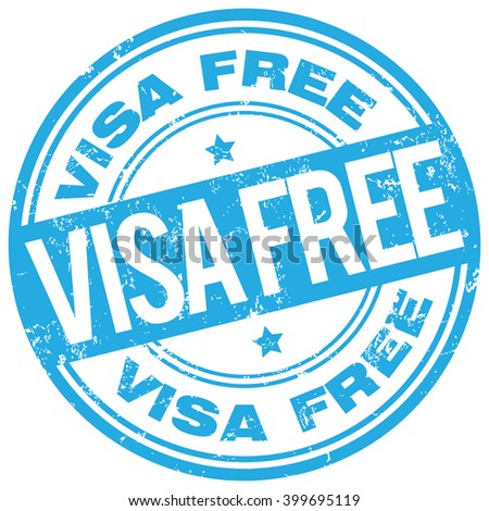 visa free rubber stamp - stock vector