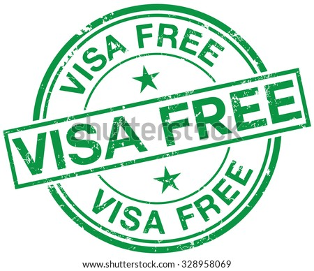 visa free stamp - stock vector