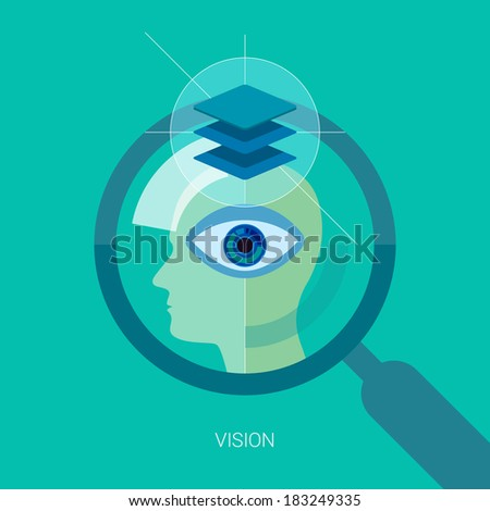 Vision flat design icon concept. Internet advertising business development, internet marketing research, consulting and graphic design. Web & mobile services vector illustration. Human head and eye. - stock vector