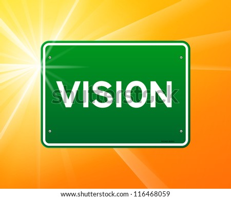 Vision Green Sign - Visionary text on green sign and sunny background - stock vector
