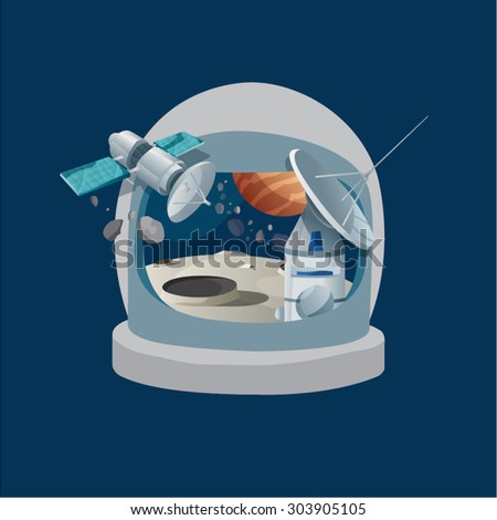 Vision of astronaut. Astronaut helmet showing space, satellite, moon surface, planet. - stock vector