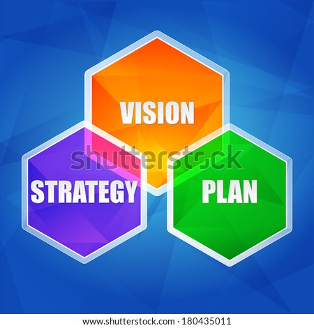 vision, strategy, plan - business growth concept words in color hexagons over blue background, flat design, vector - stock vector