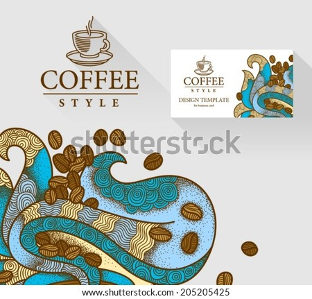 Visit card with coffee logo. Coffee flavor hand drawn graphic ornate. - stock vector