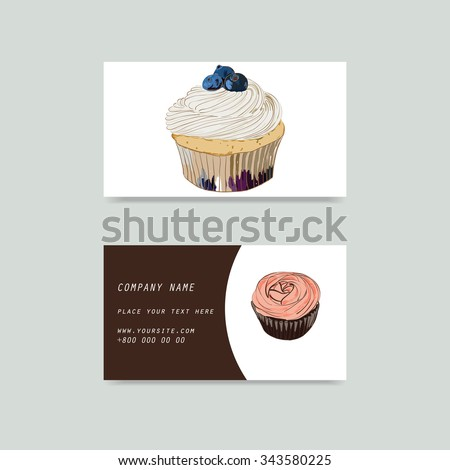 Visit cards with cupcake in vector
