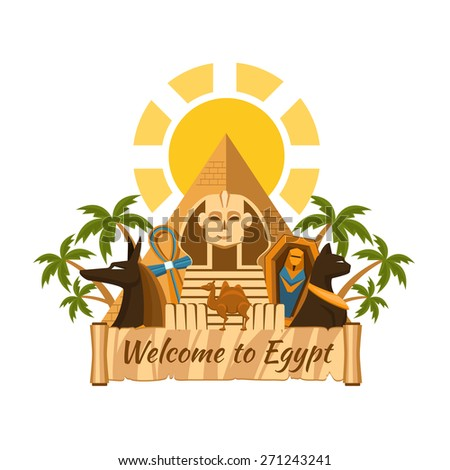 Visit Egypt. Tourist Egyptian Attractions. Sphinx and pyramids, palm trees and mummy - stock vector