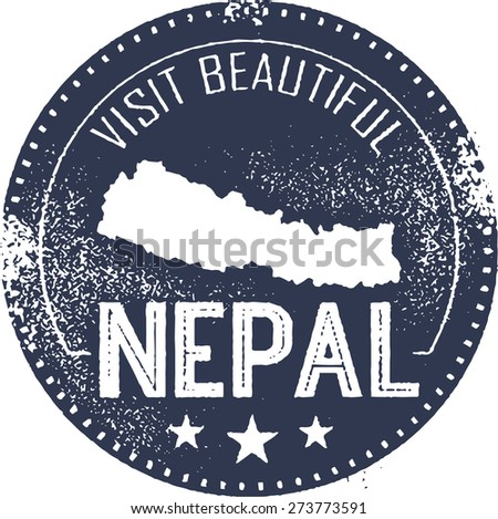 Visit Nepal Vintage Tourism Stamp - stock vector