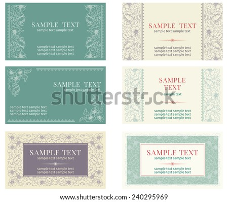 Visiting card. Vector banners with inscriptions  at retro ornate style  - stock vector