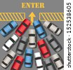 Visitors cars crowd in to enter busy website or business  - stock
