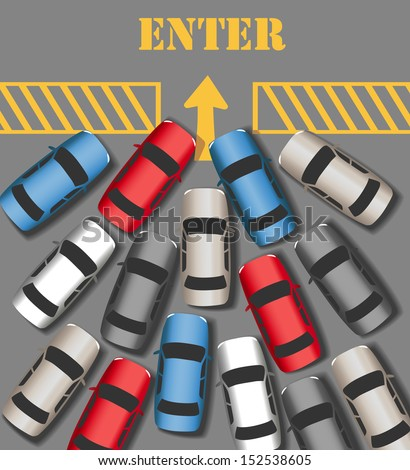 Visitors cars crowd in to enter busy website or business  - stock vector