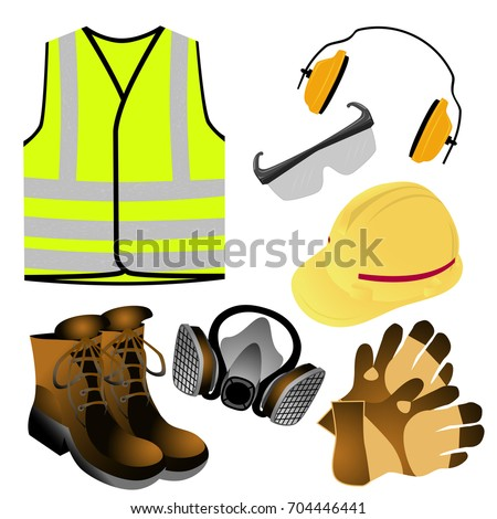 Visual Drawing Of Standard Safety Protective Equipment To Health With In The Industrial And Construction Work