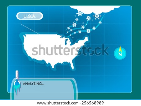 Visual Graphic of a Blizzard freezing the United States of America or USA with thermometer below zero and symbolic snowstorm image. Editable Vector EPS10 Illustration.