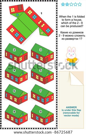 Visual math puzzle: When the 1 is folded to form a model paper house, which of the 2 - 9 can be produced? For high res JPEG or TIFF see image 86725690  - stock vector
