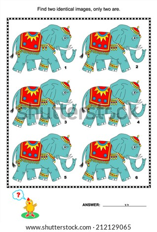 Visual puzzle or picture riddle: Find two identical images of elephants. Answer included.  - stock vector