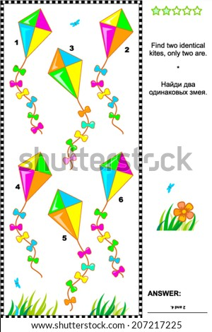 Visual puzzle or picture riddle: Find two identical kites. Answer included.  - stock vector