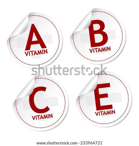 Vitamin A, B, C and E stickers - stock vector