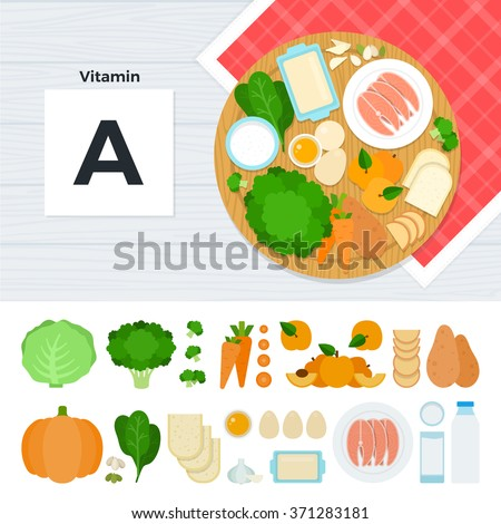 vitamin a vector flat foods containing vitamin a on the table source of