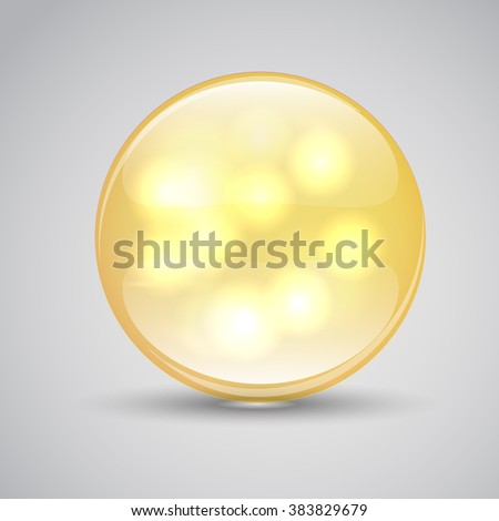 Vitamin A. Vitamin A capsule. Pills of vitamin A. Collagen Serum and Vitamin. Vitamin icon Label Concept. Logo. Sphere with shimmering reflections inside isolated on a gray background - stock vector