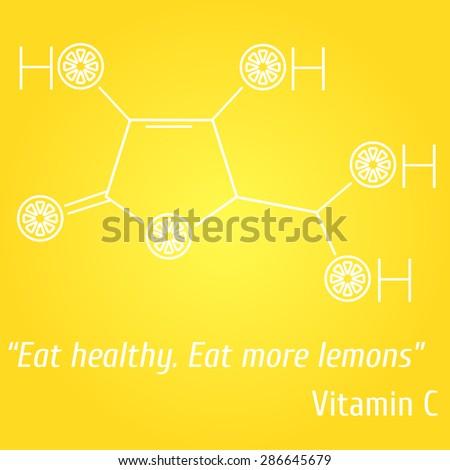 Vitamin C lemon - stock vector
