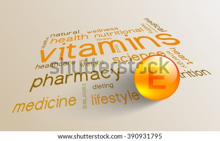 Vitamin E element for a healthy life in the word cloud - stock vector