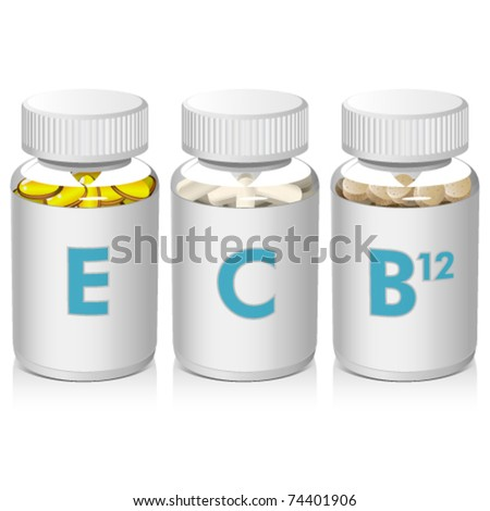 Vitamins E, C, B12 in clear bottles with cap - stock vector
