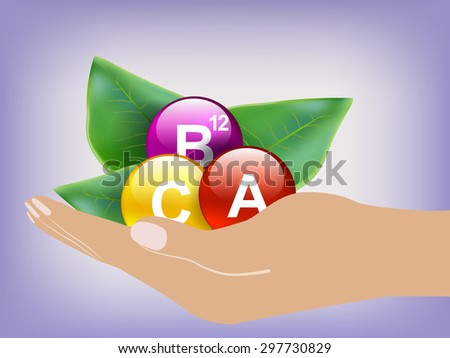 Vitamins on green leaves as concept  - stock vector