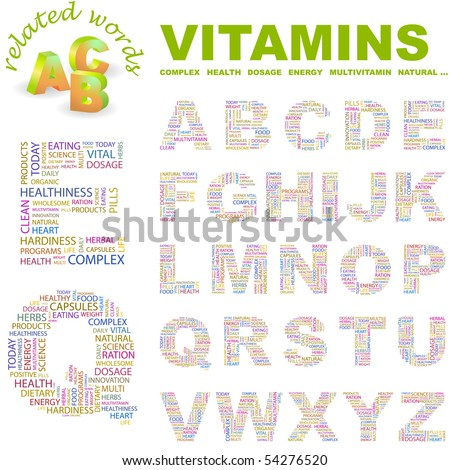 VITAMINS. Vector letter collection. Wordcloud illustration. - stock vector