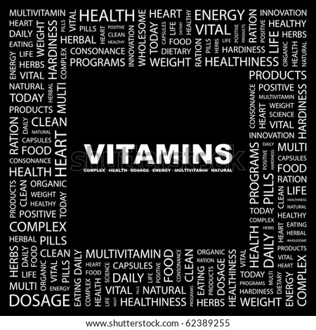 VITAMINS. Word collage on black background. Illustration with different association terms. - stock vector