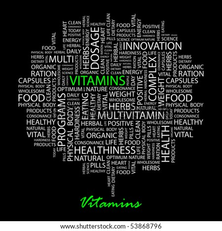 VITAMINS. Word collage on black background. Vector illustration. - stock vector