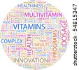 VITAMINS. Word collage on white background. Vector illustration. - stock photo