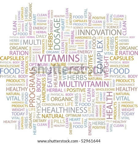 VITAMINS. Word collage on white background. Vector illustration. - stock vector