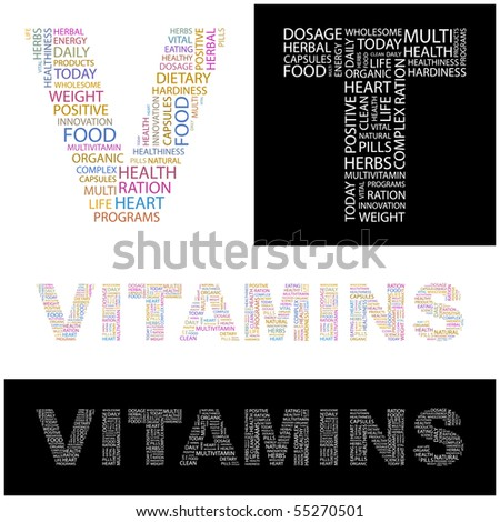 VITAMINS. Word collage. Vector illustration. - stock vector