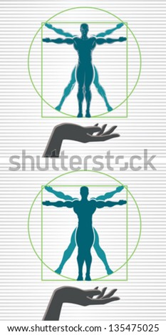 Vitruvian man - stock vector